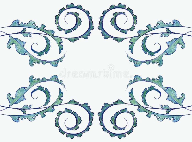 Illustration-konst-modell-härlig-dekor-växter gräsplan-linjär-prydnad-ljus - bakgrund-teckning royaltyfri illustrationer