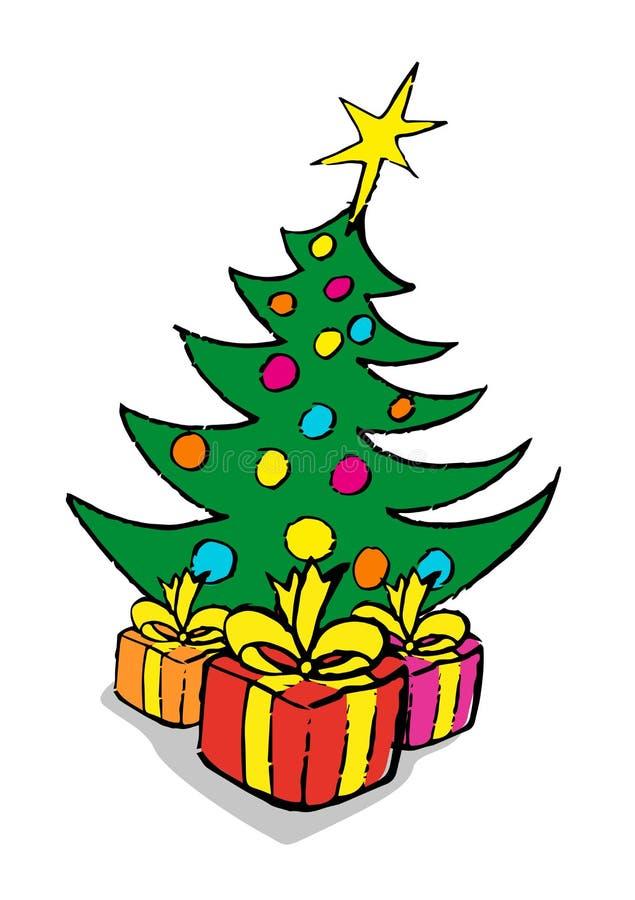 Illustration Konzepthintergrund der frohen Weihnachten und des guten Rutsch ins Neue Jahr des Vektors für Webdesign stock abbildung
