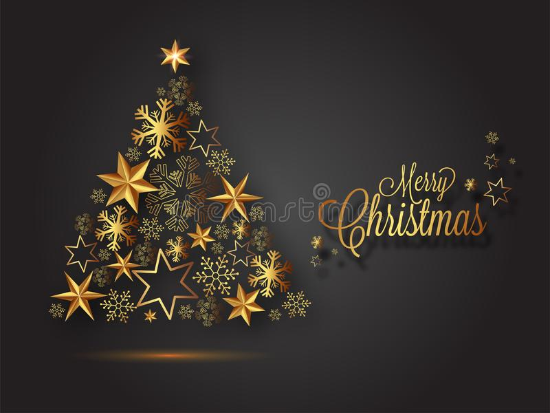 Illustration kreativen Weihnachtsbaums gemacht durch Schneeflocken und Sterne lizenzfreie abbildung