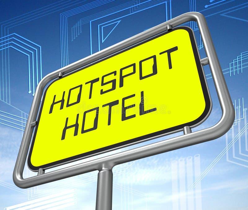 Illustration Krisenherd-Hotel-on-line-Unterkunft Wifi 3d lizenzfreie abbildung