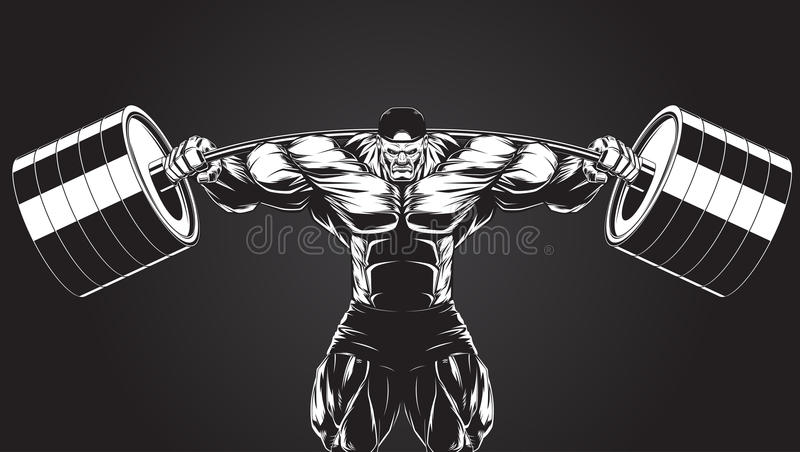 Illustration: kroppsbyggare med en skivstång vektor illustrationer