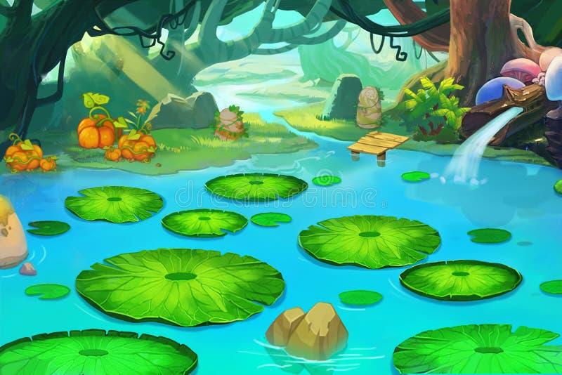 Illustration : L'étang de sommeil dans la forêt oubliée illustration libre de droits
