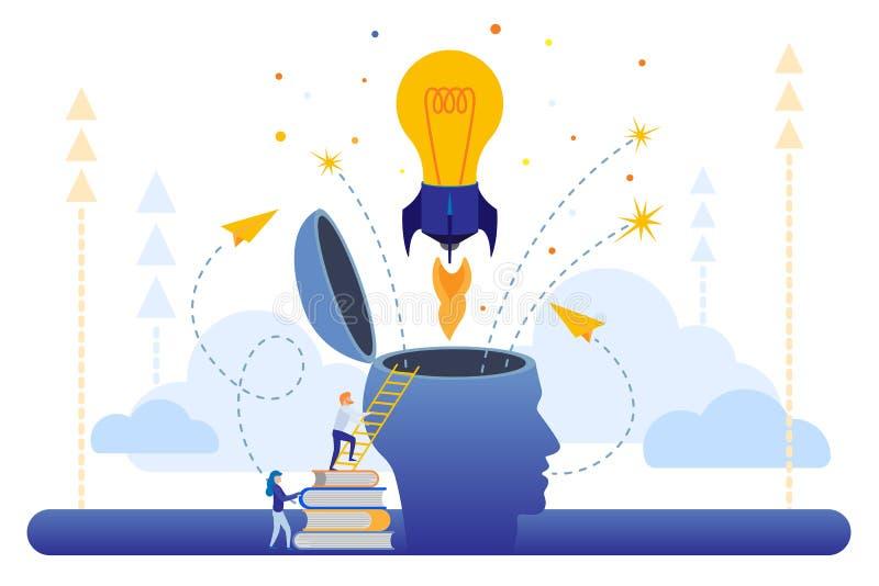 Illustration la recherche commune des idées, la tête de la personne abstraite, remplie d'idées de pensée et d'analytics illustration de vecteur