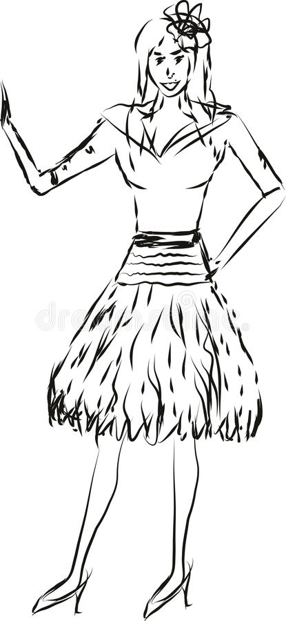 Download Illustration Of A Lady Waving To Someone Stock Vector - Image: 38530799