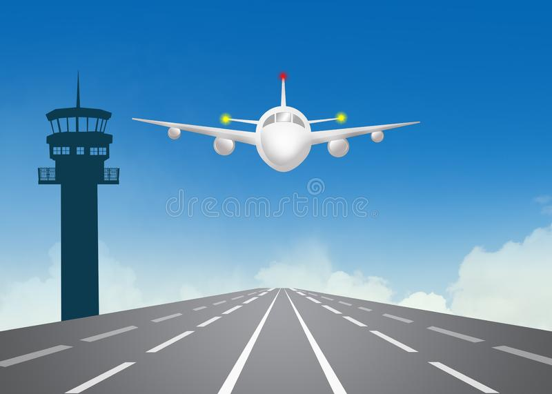 Landing strip and control tower at the airport vector illustration