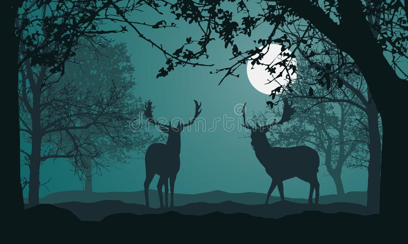 Illustration of landscape with forest, trees and hills, under night green sky with full moon and space for text. Two deer standing vector illustration