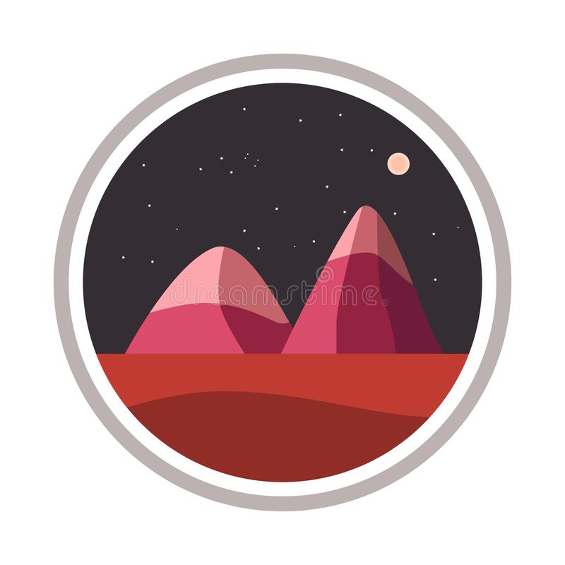 Illustration of landscape mountain in the circle sky royalty free stock photography