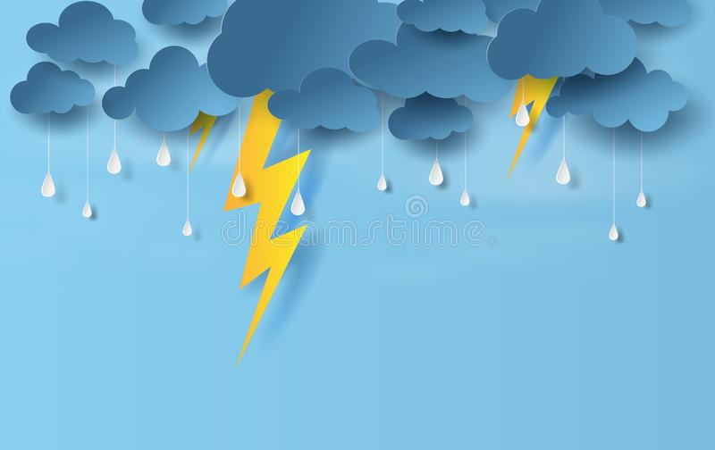 Illustration of landscape view with black cloud and yellow lighting on blue sky.Rainy season in sea with storm lightning,Creative vector illustration