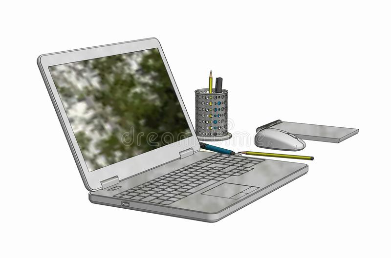 Illustration of Laptop with cordless mouse notepad and pencils stock image
