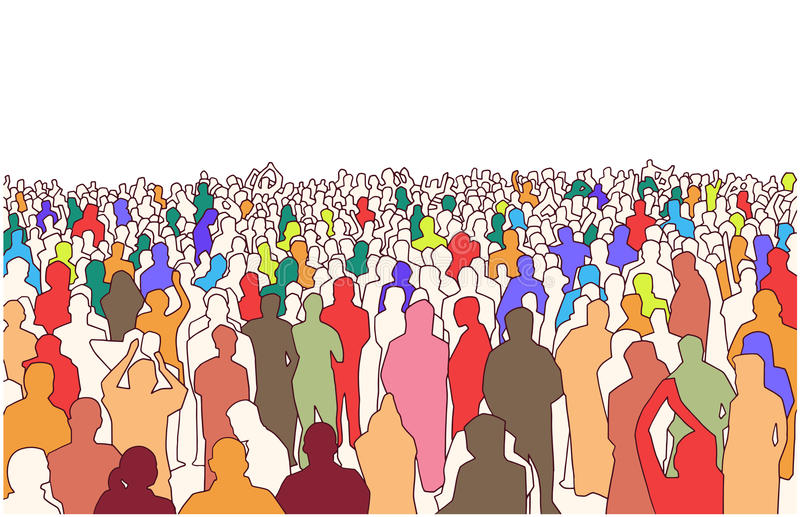 Illustration of large mass of people in perspective. Stylized drawing of crowd of people in perspective vector illustration