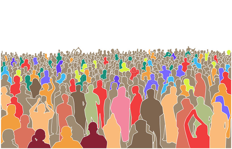 Illustration of large mass of people in perspective. Stylized drawing of crowd of people in perspective stock illustration