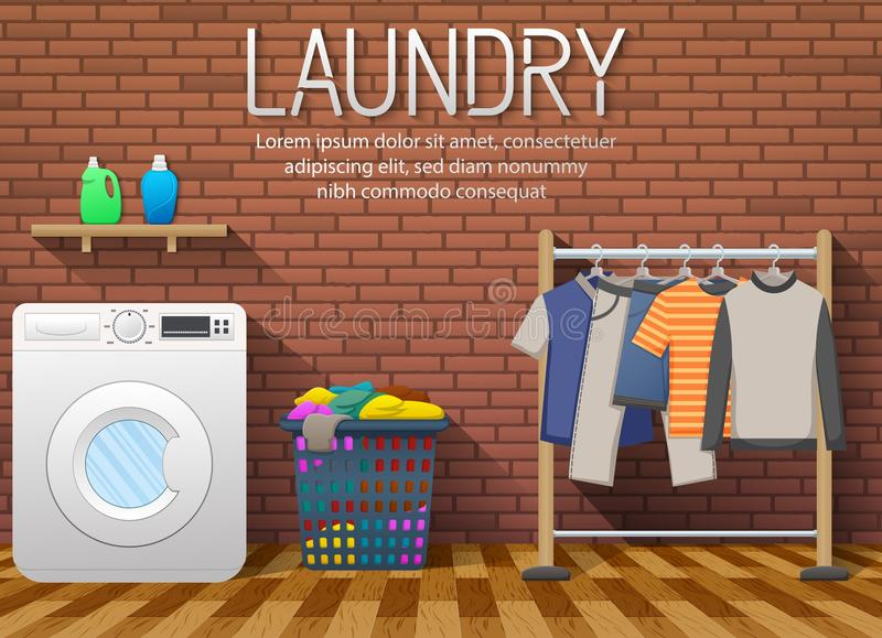 Laundry room with washing machine, drying clothes and clothes basket on brick wall background stock illustration