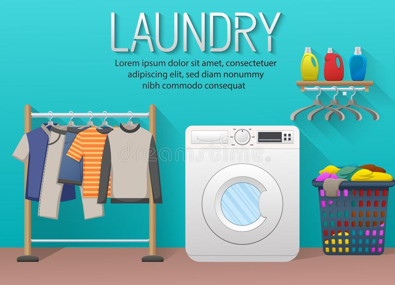 Laundry room with washing machine, drying clothes and clothes basket stock illustration