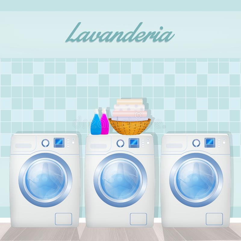 Illustration of laundry service. Cute illustration of laundry service stock illustration