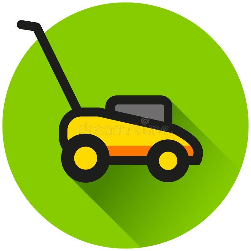 Lawn mower circle green icon. Illustration of lawn mower circle green icon stock illustration