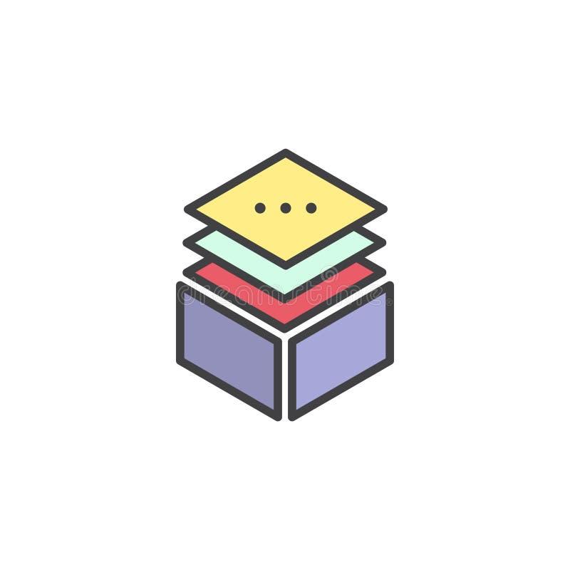 Illustration Layered Stacks Showing Working Progress, Level Indicator Symbol Multi Platform. Vector Simple Icon Style Illustration Layered Stacks Showing Working stock illustration