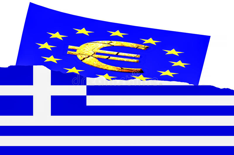Illustration le drapeau grec, euro symbole illustration de vecteur