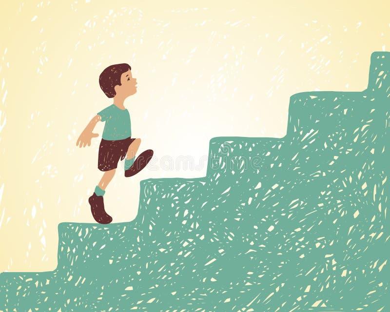 Illustration Le garçon marche vers le haut des escaliers Essayer d'obtenir le succès illustration libre de droits