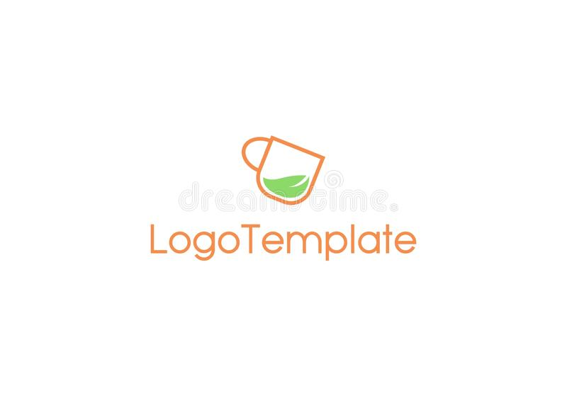 Herbal drink logo template. Illustration of a leaf in a cup. It representating herbal drink. It will suit for logo template of herbal or nature product stock illustration