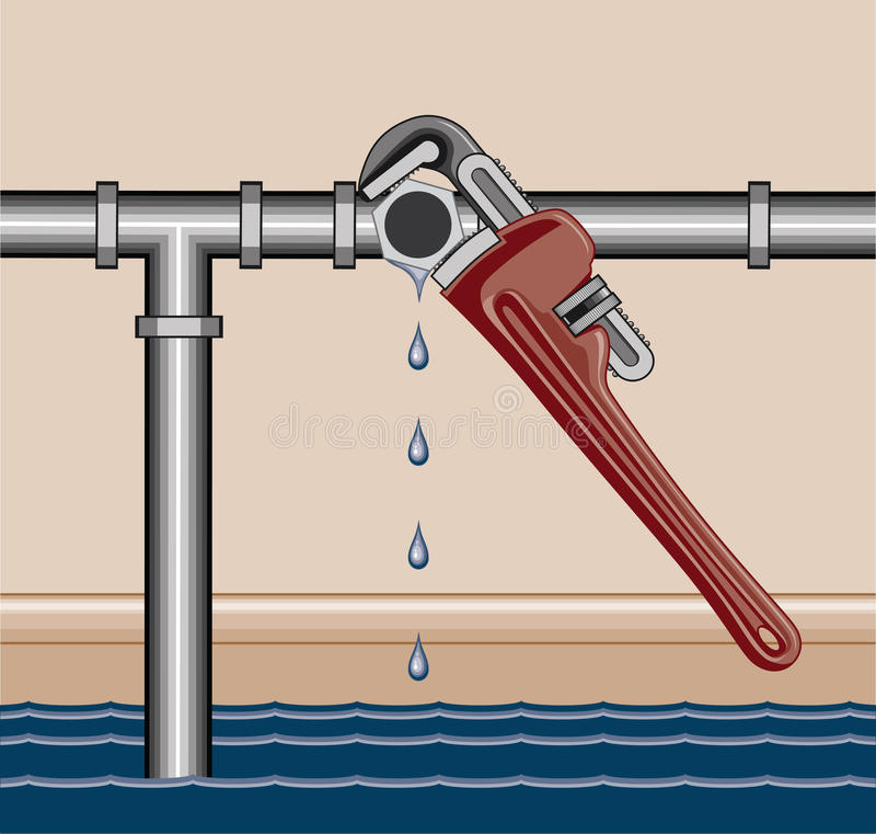 Leaking pipe repair stock vector illustration of for What pipes to use for plumbing