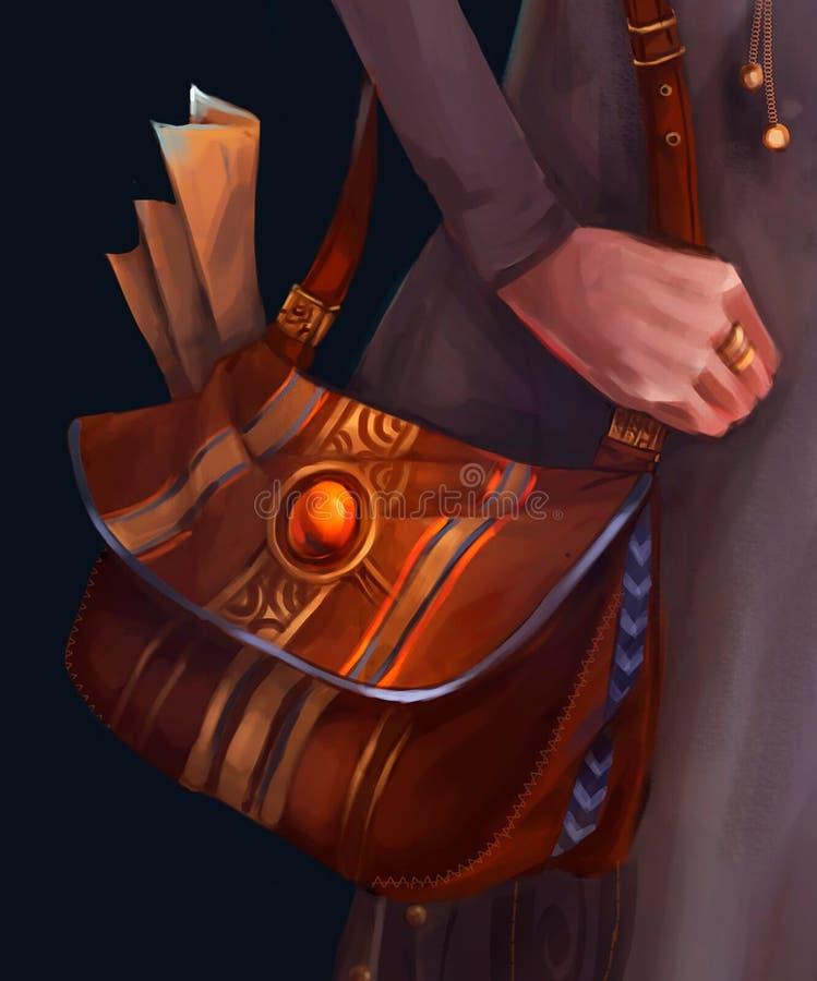 Illustration of leather women`s bag stock illustration