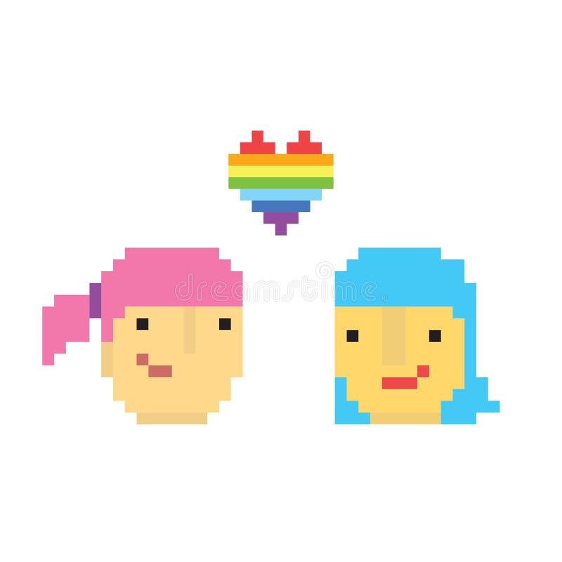 Illustration lesbienne de filles du style deux d'art de pixel illustration de vecteur