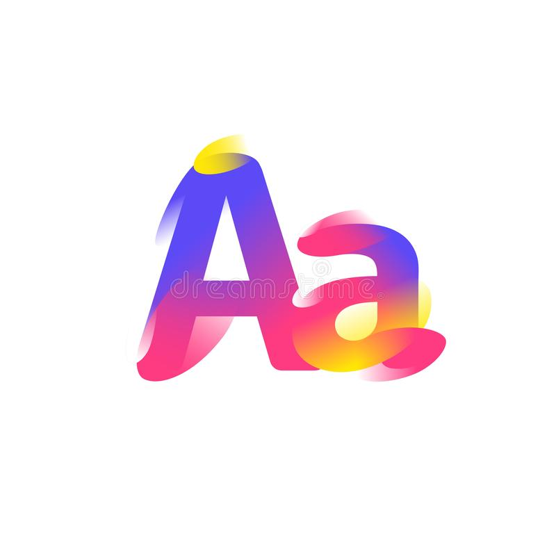Illustration of the letter A. Gradient flat icon. Letter of the alphabet. Vector illustration. A modern fashionable company logo. stock illustration