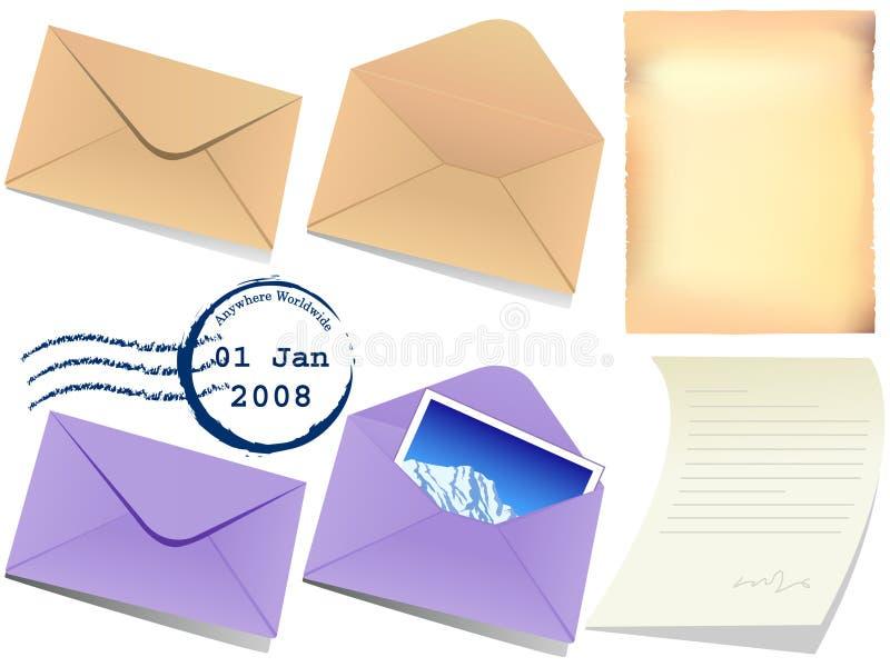 Illustration of letter papaer and envelop royalty free illustration
