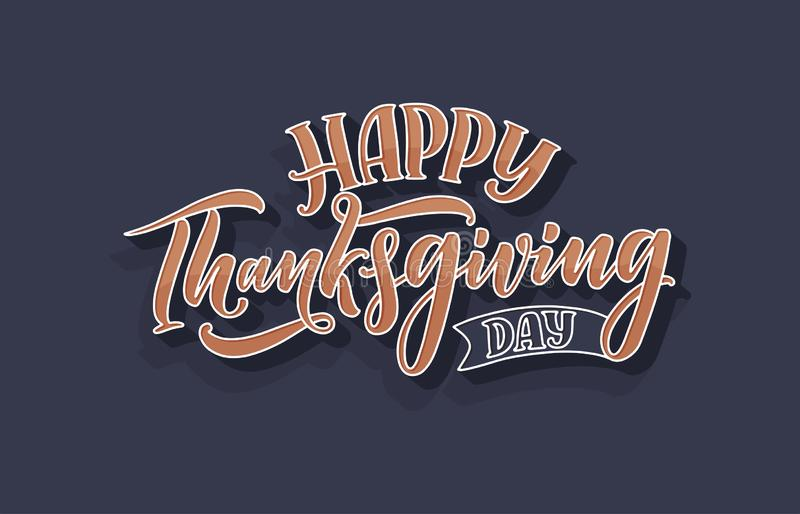 Illustration with lettering for Thanksgiving Day. Typographic design. Greeting card template. Autumn concept. Vector royalty free illustration