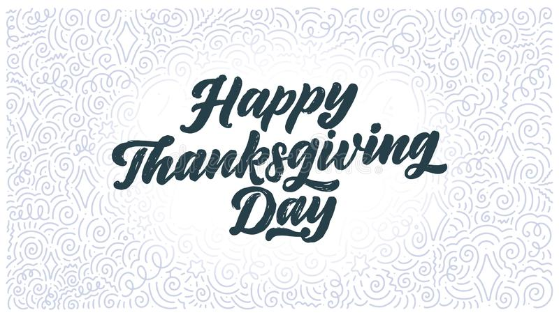 Illustration with lettering for Thanksgiving Day. Typographic design. Greeting card template. Autumn concept. Vector. Hand drawn lettering for Thanksgiving Day stock photos
