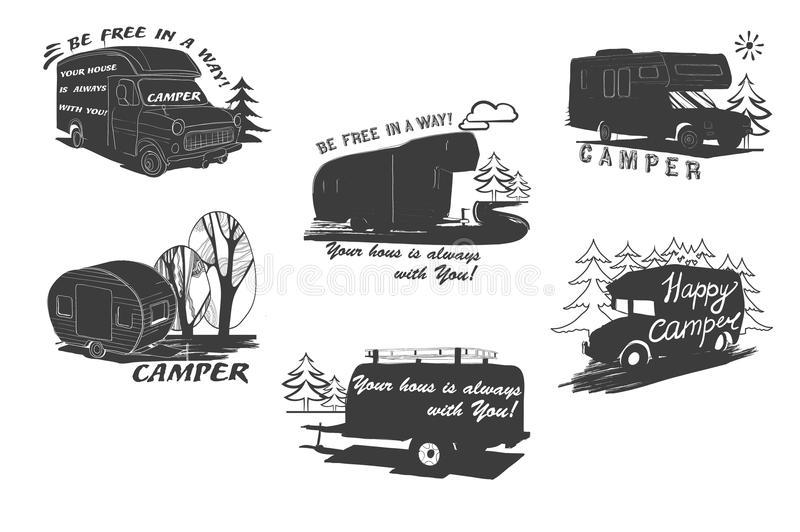 Download Illustration Of Lettering Travel Typographic Logo Camping Calligraphy Silhouette Trailer Caravan