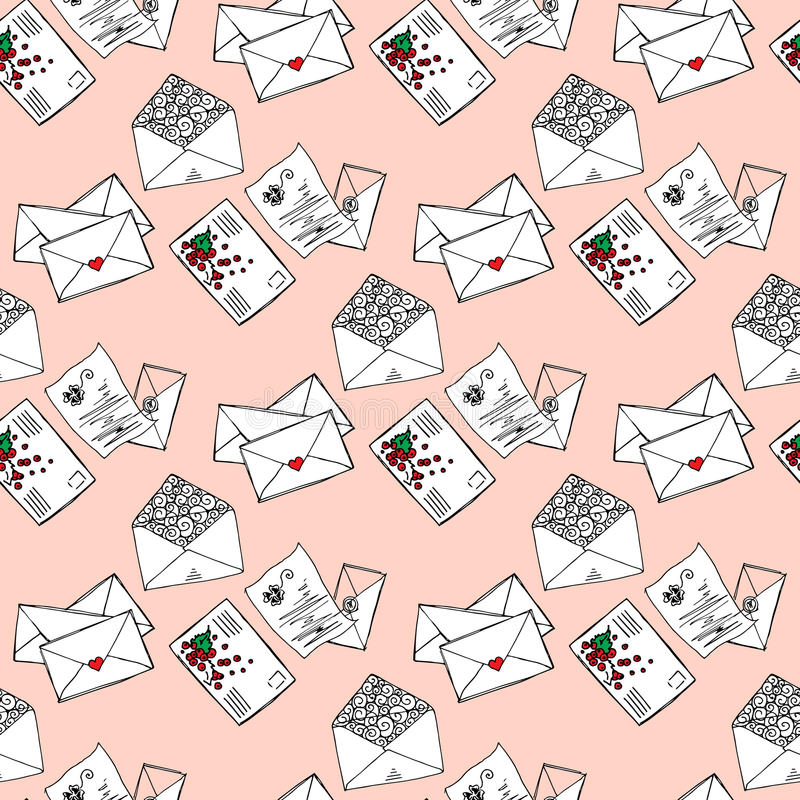 Illustration of letters and envelopes. Romantic messages. Seamless pattern. Illustration of letters and envelopes. Romantic messages. Seamless pattern royalty free illustration
