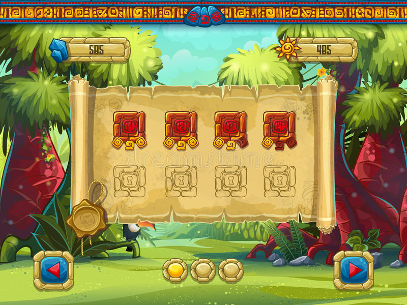 Illustration level selection for a computer game Jungle Treasures royalty free illustration