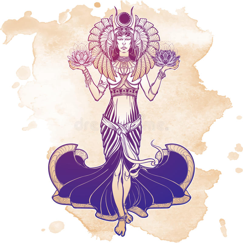 Illustration of libra zodiac sign as a beautiful Egyptian Goddess. Vector . Egyptian goddess Isis balancing in hands black and white lotus as a symbol of life stock illustration