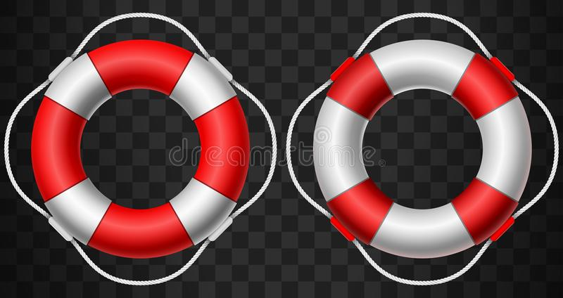 Life buoy icon red and white on dark background stock illustration