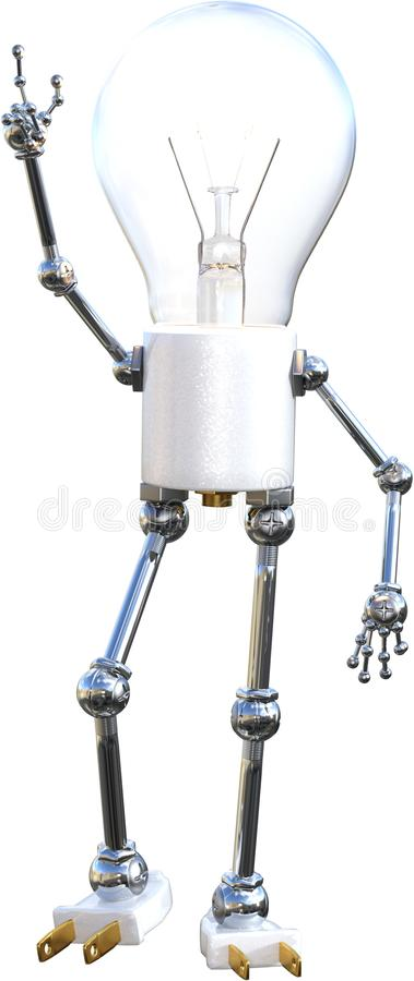 Light Bulb, Man, Ideas, Isolated, Innovation. Illustration of a light bulb man. The lightbulb is an abstract concept for idea, ideas, innovation, success stock photo