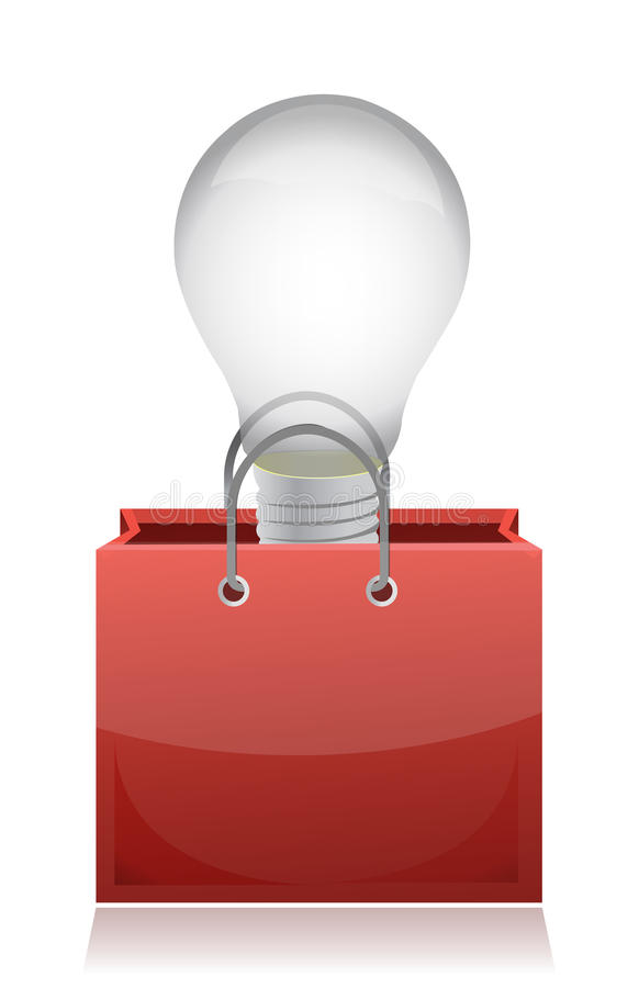 Illustration of light bulb in red bag
