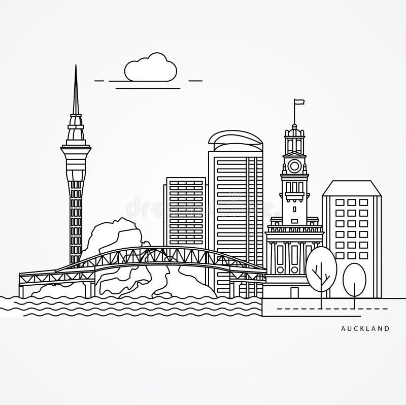 Illustration linéaire d'Auckland, Nouvelle-Zélande illustration stock
