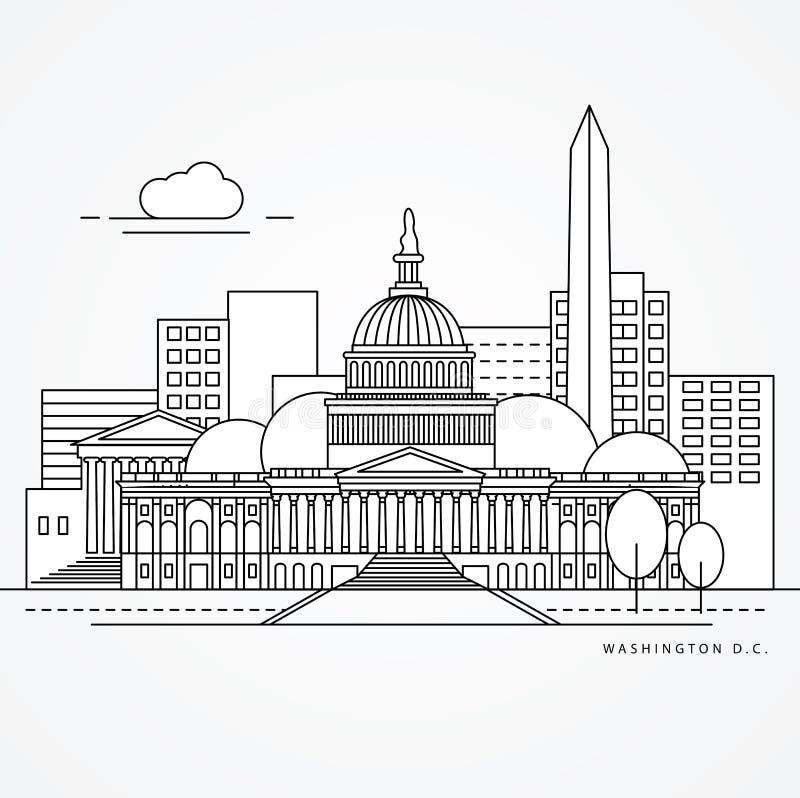 Illustration linéaire de C.C de Washinton, ligne style plate des USA une Le plus grand point de repère - capitol illustration libre de droits