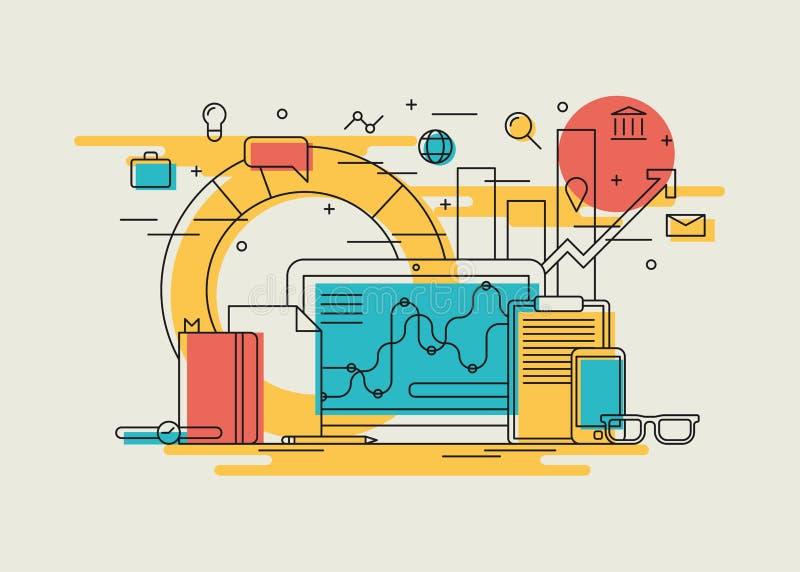 Illustration linéaire de déroulement des opérations d'affaires illustration de vecteur