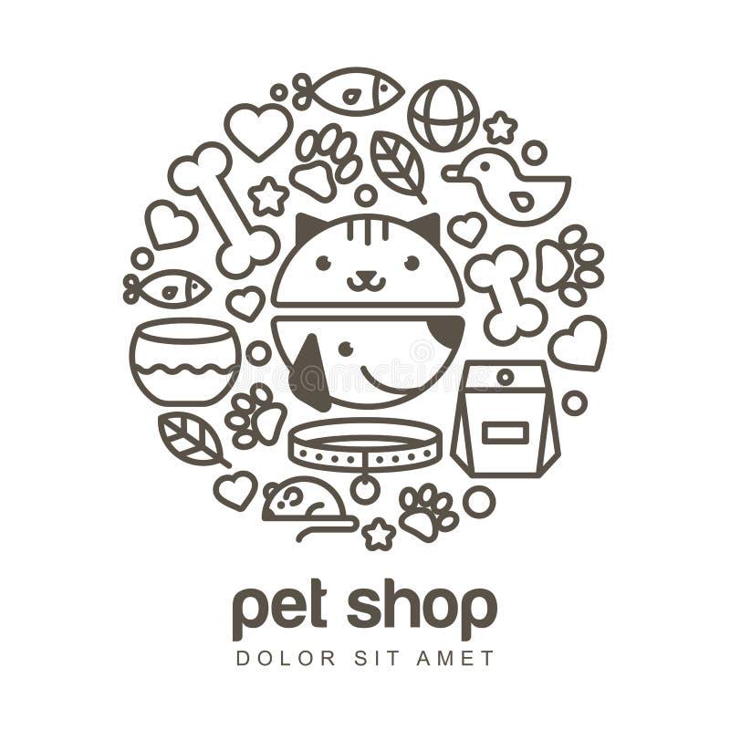 Illustration linéaire de museau drôle de chat et de chien Marchandises pour illustration stock