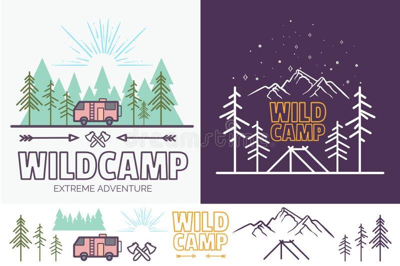 Illustration linéaire de vecteur de camp de forêt avec la tente, montagnes, arbres, nuage, le soleil Graphique créatif campant de illustration de vecteur