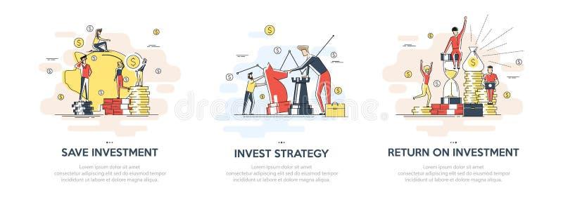 Illustration linéaire plate d'investir le concept d'ensemble de plans Banni?re de vecteur, ic?ne, illustration Investissement de  illustration stock