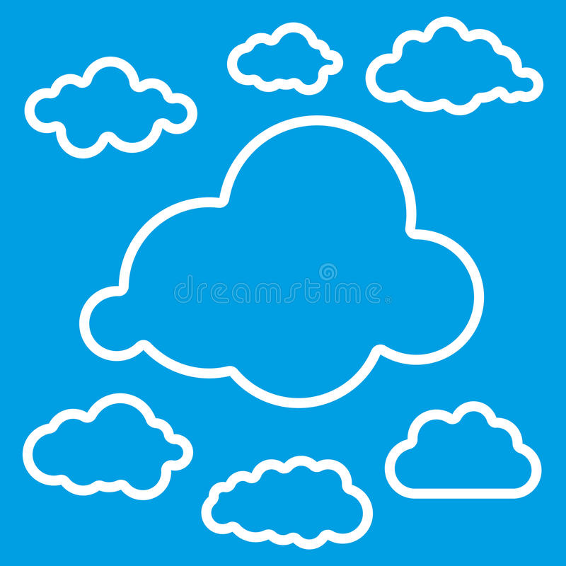 Illustration of linear clouds collection. Vector illustration of linear clouds collection stock illustration