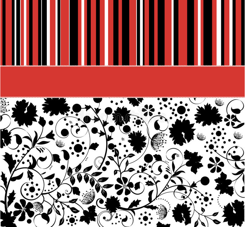 Download Illustration With Lines And Black Floral Elements Stock Vector - Image: 24057118