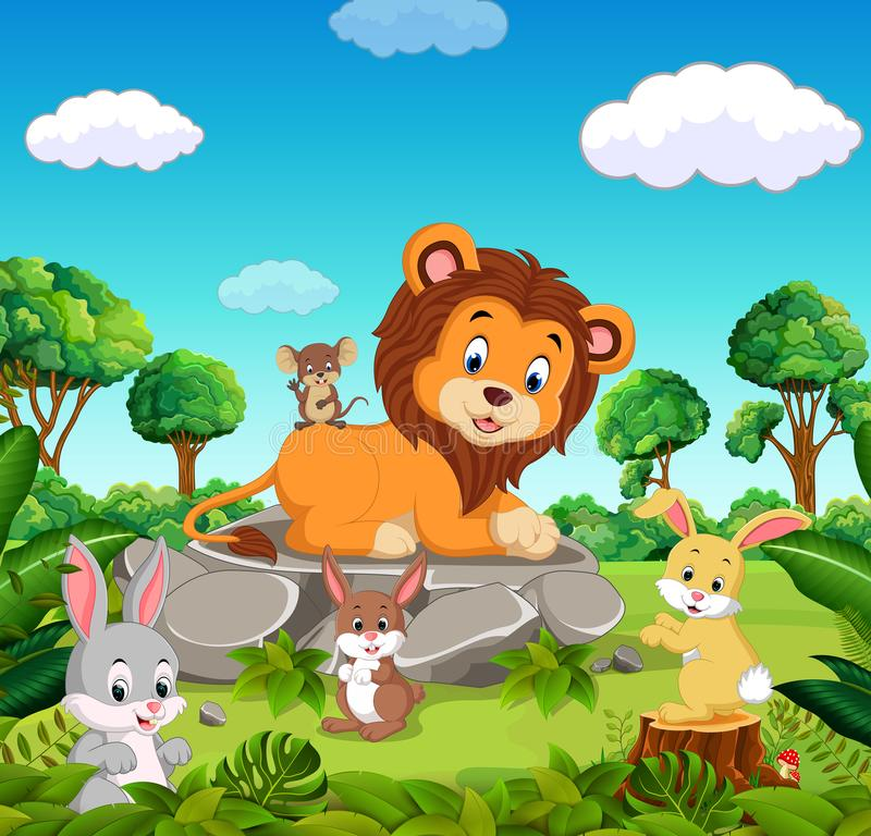 Lion in the forest stock illustration