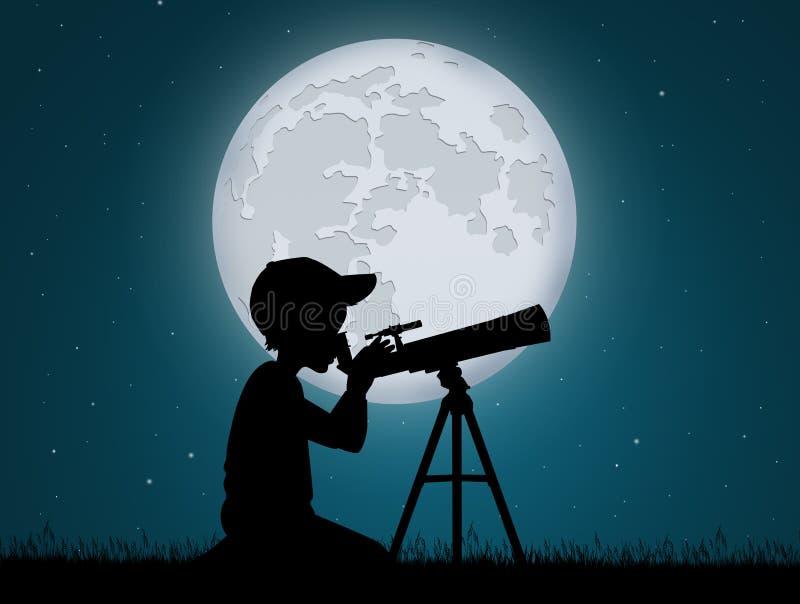 Little boy look in the telescope. Illustration of little boy look in the telescope vector illustration