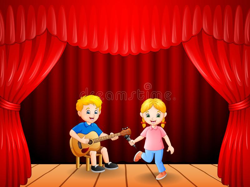 Little boy playing guitar and singing girl dancing. Illustration of Little boy playing guitar and singing girl dancing royalty free illustration