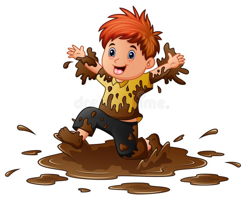 Little Boy Playing In The Mud Stock Vector - Illustration ...
