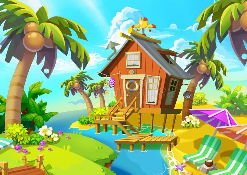 Illustration: Little Cabin on the Island. Cabin, Coconut Tree, Beach Chair. Fantastic Realistic Cartoon Style Scene / Wallpaper / Background Design